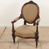 Carved Mahogany Victorian Open Arm Gents Chair, Fawn & Rose Pattern (Y)