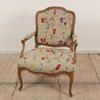 French Style Upholstered Open Arm Chair In Cream Floral Fabric (Y)