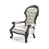Mahogany Victorian Gents Ivory Satin Open Armchair  (Y)