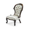 Mahogany Victorian Ivory Satin Button Back Ladies Chair  (Y)