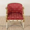White And Gilt Tub Style Easy Chair With Swan Shape Arms And Red & Gold Upholstery (Y)