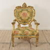 Italian Carved Giltwood Open Armchairs Upholstered In Floral Weave. (Y)