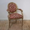 Gilt & Grey Louis Style Elbow Chair Pink Damask Seat/Back  (Y)