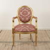 French Giltwood Framed Open Armchair Uphol In Pink Damask  (Y)