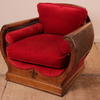Walnut 30's Shaped Arm, Armchair, Bergere Panels Uphol In Red Velvet Plus 2 X Bolsters... (Y)