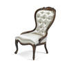Mahogany Victorian Ladies Chair In Ivory Satin  (Y)