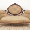 Carved Mahogany Victorian Settee In Fawn & Rose Pattern  (Y)