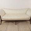 Mahogany Georgian Style Double Ended Sofa In Cream Damask (W230cm X H84cm X D80cm) (Y)