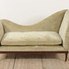French Provincial Shaped Back Hall Settee In Beige Velvet  (Y)
