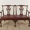 Mahogany Chippendale Style Settee With Leather Seat  (Y)