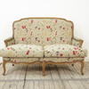 French Style 2 Seater Upholstered Settee In Cream Floral Fabric (Y)
