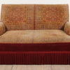 Red And Gold Carpet Bag 2 Seater Settee  (Y)