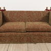 Knoll Settee Upholstered In Red And Gold Damask