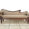 Mahogany Victorian Double Ended Settee With Black & Fawn Damask Upholstery