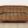 Walnut Art Deco Sofa Curved Ends And Upholstered Seat (W138cm X H66cm X D65cm)