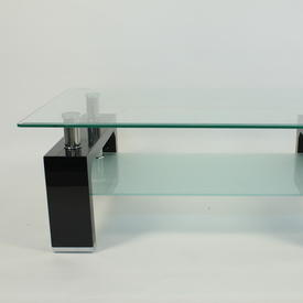 Vmf Blk Leg Clear/Frosted Glass 2 Tier Reno Coffee Table