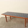 Narrow Blue Mosaic Tiled Top Teak Base Coffee Table  (50s)