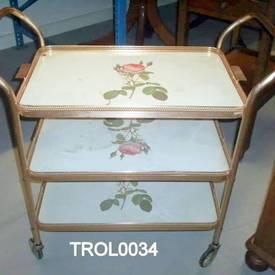 Gilt & White Rose Patt 3 Tier Trolley