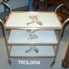 Gilt & White Rose Patt 3 Tier Trolley