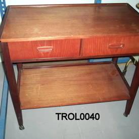 Teak 2 Tier 2 Drawer 2 Tier G Plan Side Table on Castors  (50S) 30Cmx40Cmx67Cm