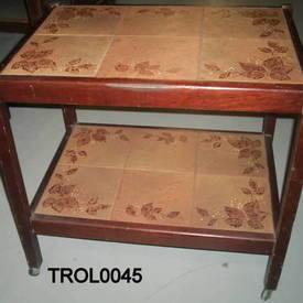 Dark Oak Tiled Top 2 Tier Trolley