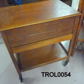 50'S Lt/Oak Low Sewing Box on Castors