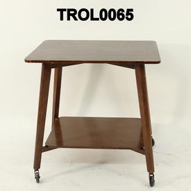 Polished Oak 2 Tier Splay Leg Table on Castors