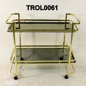 Brass & Smoked Glass 4 Bottle Holder Cocktail Trolley