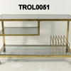 Zevi Brass/Smoked Glass Trolley With Record Rack On Castors
