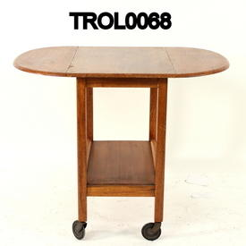Teak D Ended  Drop Side 2 Tier Trolley on Castors  (50S)