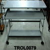 Solid Shelf Grey Metal 3 Tier Computer  Trolley