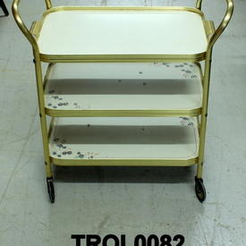 White And Gilt 3 Tier Trolley with Small Flower Print