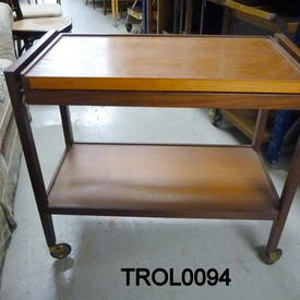 Teak 2 Tier Pullout Ext Top/Brass Castor Trolley