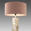 Brown Polished Tiled Column Table Lamp With Pink Drum Shade