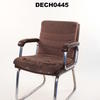Tatty Padded Brown Fabric Visitors Chair Tubular Steel Frame