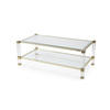 Brass & Perspex Coffee Table With Glass Top  (109cm X 58cm X 40cm H)