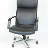 Black Leather High Back Angular 'i.B.' Desk Chair On Castors