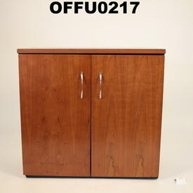 Mid Cherry & Charcoal Kos Executive Low  2 Door Cupboard