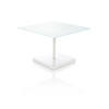 Sq Low White Glass Coffee Table On White Base