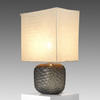 Smoked Grey Dimpled Glass 'somba' T/Lamp + Rect Grey Shade