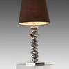 Pewter Pebble Table Lamp With Brown Shade