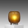 Fat Amber Ribbed 'manakara' Glass Table Lamp