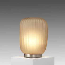 Tall Grey Smoked Ribbed Glass ''Manakara'' Table Lamp