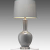 Grey Green Bulbous Glass Table Lamp & Green Drum Shade