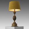 Brass Acorn Table Lamp With Mustard Velvet Shade