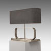 Livaison Rect Chrome Abstract Table Lamp With Grey Fabric Sh