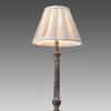 Twisted Carved Wooden 'rossend' Table Lamp With  Natural Linen Ribbon Shade