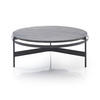 Circ. Black Metal Coffee Table With Grey Oak Top