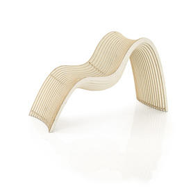 White Slatted Curved Chaise Longue