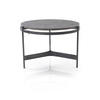 Circ. Black Metal Lamp Table With Grey Oak Top